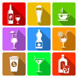 Beverage flat icons Royalty Free Stock Images