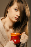 Beverage. Girl holding cup mug of hot drink tea or coffee Royalty Free Stock Photos