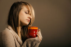 Beverage. Girl holding cup mug of hot drink tea or coffee Stock Images