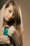 Beverage. Girl holding cup mug of hot drink tea or coffee Royalty Free Stock Photo