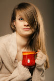 Beverage. Girl holding cup mug of hot drink tea or coffee Royalty Free Stock Image