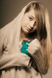 Beverage. Girl holding cup mug of hot drink tea or coffee Royalty Free Stock Images