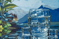 Beverage Glass and Ice Cubes Stock Images