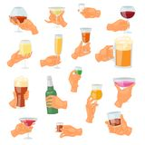 Beverage in hand vector drinking alcoholic cocktail tequila martini or nonalcoholic beer in mug illustration set of. Handing glass of drinkable alcohol isolated Royalty Free Stock Photography