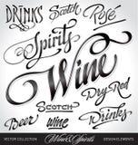 Beverage headlines set (vector). Beverage headlines, hand lettering set (vector Royalty Free Stock Image