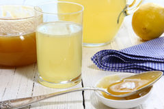 Beverage of honey and lemon in a glass Royalty Free Stock Photo
