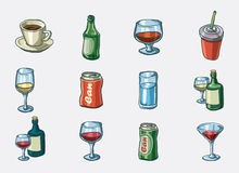 Beverage icon set. Hand drawn  icon set Stock Photo