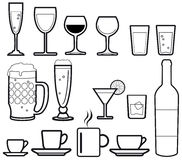 Beverage icon set. An illustrated set of beverage icons representing popular cold and hot alcohol and non alcohol drinks, in black line Stock Images
