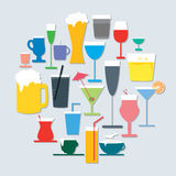Beverage Icon Set Stock Photography