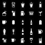 Beverage icons on black background Stock Photo