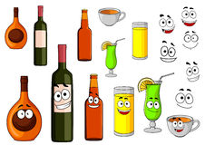 Beverage icons in cartoon style Stock Photos