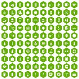 100 beverage icons hexagon green. 100 beverage icons set in green hexagon isolated vector illustration royalty free illustration