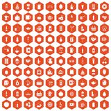 100 beverage icons hexagon orange. 100 beverage icons set in orange hexagon isolated vector illustration Royalty Free Stock Images