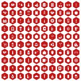 100 beverage icons hexagon red. 100 beverage icons set in red hexagon isolated vector illustration Stock Photos