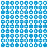 100 beverage icons set blue. 100 beverage icons set in blue hexagon isolated vector illustration Royalty Free Stock Images