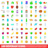100 beverage icons set, cartoon style Royalty Free Stock Photography