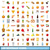 100 beverage icons set, cartoon style Royalty Free Stock Images