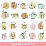 Beverage icons set Royalty Free Stock Image