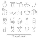 Beverage icons set Royalty Free Stock Images