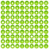 100 beverage icons set green circle. Isolated on white background vector illustration Royalty Free Stock Images