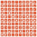 100 beverage icons set grunge orange. 100 beverage icons set in grunge style orange color isolated on white background vector illustration vector illustration