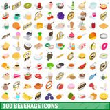 100 beverage icons set, isometric 3d style Royalty Free Stock Photography