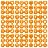 100 beverage icons set orange. 100 beverage icons set in orange circle isolated on white vector illustration stock illustration