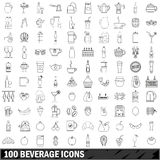100 beverage icons set, outline style Stock Photography