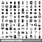100 beverage icons set in simple style Royalty Free Stock Photos