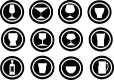 Beverage icons Stock Photos