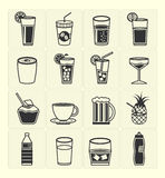 Beverage icons set Royalty Free Stock Photos