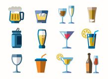 Beverage icons Stock Photography