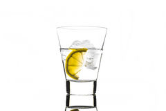 Beverage with lemon and ice in glass Royalty Free Stock Photos