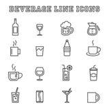Beverage line icons Stock Photo
