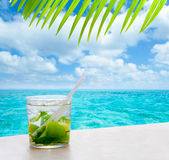 Beverage mojito drik in tropical turquoise sea Stock Photography