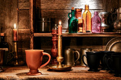 Beverage Mug and Pub Drinking Cups in Old Tavern stock photo