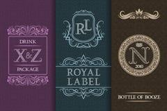 Beverage packaging design. Set of booze bottles labels.  royalty free illustration