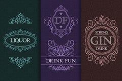Beverage packaging design. Set of booze bottles labels.  vector illustration