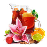 Beverage in pitcher and glass with fruits Royalty Free Stock Photos