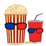 Beverage and popcorn and 3D glasses vector illustration