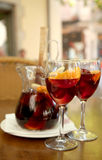 Beverage sangria by the glass with fruits Stock Image