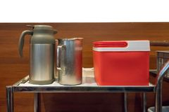 Beverage service silver metal cart of ice box, hot drink and col Stock Photo