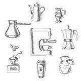 Beverage sketch icons around the coffee machine Royalty Free Stock Photo