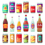 Beverage soft and energy drinks vector flat icons. Drink bottle and can set Stock Photos