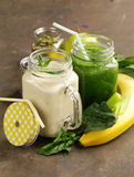 Beverage with spinach, celery and banana smoothie Stock Image