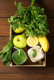 Beverage with spinach, celery and banana smoothie Royalty Free Stock Photography