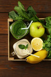 Beverage with spinach, celery and banana smoothie Royalty Free Stock Images