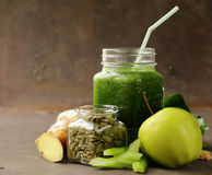 Beverage with spinach, celery and pumpkin seeds Stock Photos