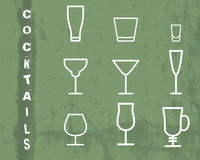 Beverage vector thin line symbol icon. Cocktails Stock Photography
