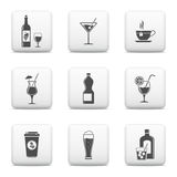 Beverage web buttons set Royalty Free Stock Photos